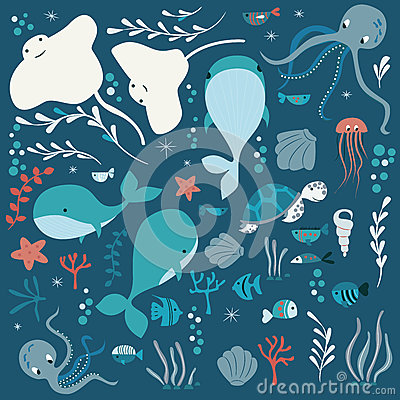 Free Collection Of Colorful Sea And Ocean Animals, Whale, Octopus, Stingray, Jellyfish, Turtle, Coral Royalty Free Stock Photography - 87111987