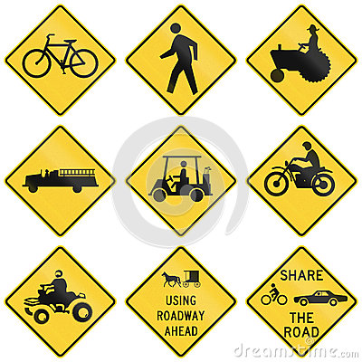 Free Collection Of Crossing Warning Used In The USA Royalty Free Stock Photo - 61168035