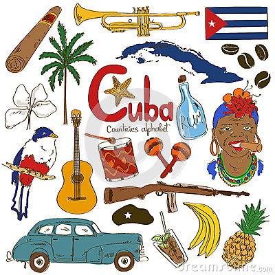 Free Collection Of Cuban Icons Royalty Free Stock Photos - 47896998