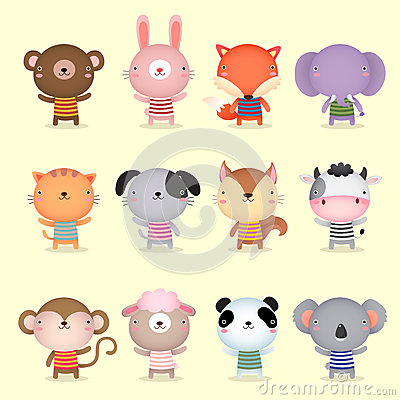 Free Collection Of Cute Animals Design Stock Photography - 58790372
