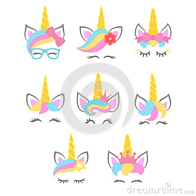 Free Collection Of Cute Unicorn Faces. Unicorn Heads. Vector Stock Photo - 117475330