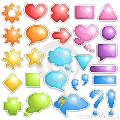 Free Collection Of Dialogue Bubbles And Different Sumbo Royalty Free Stock Images - 18159259