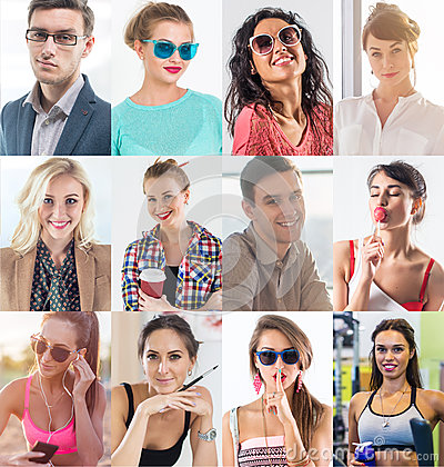 Free Collection Of Different Many Happy Smiling Young People Faces Caucasian Women And Men. Concept Business, Avatar. Royalty Free Stock Image - 91639446
