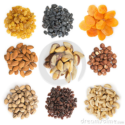 Free Collection Of Dried Fruits And Nuts Royalty Free Stock Images - 75794549
