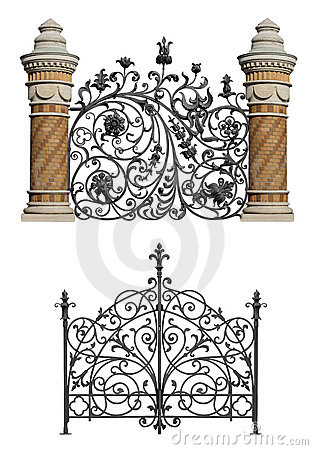 Free Collection Of Forged Gate And Decorative Lattice Royalty Free Stock Image - 21201746