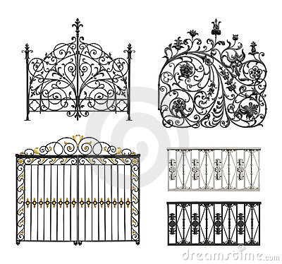 Free Collection Of Forged Gates And Decorative Lattice Royalty Free Stock Photography - 21201867