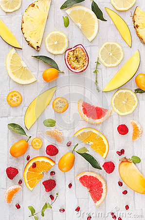 Free Collection Of Fresh Yellow,orange And Red Fruits Royalty Free Stock Photography - 66038977