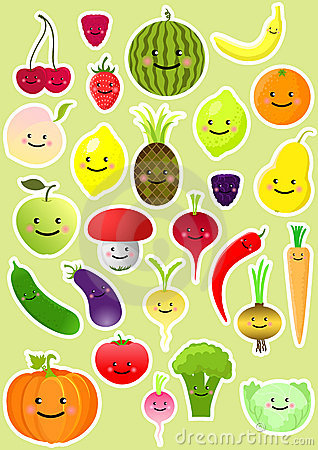 Free Collection Of Funny Vegetables And Fruit Royalty Free Stock Photo - 19595105