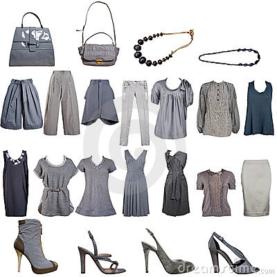 Free Collection Of Grey Clothes And Accessories Royalty Free Stock Images - 5520489