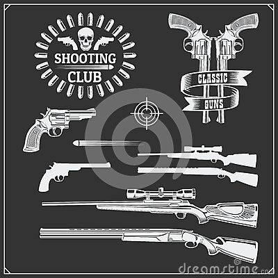 Free Collection Of Guns. Revolvers, Shotguns And Rifles. Gun Club Labels And Design Elements. Stock Photography - 91032532