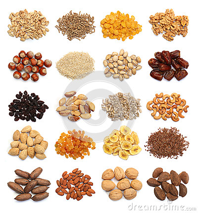 Free Collection Of Healthy Dried Fruits, Cereals, Seeds And Nuts Isolated Stock Photos - 85226803