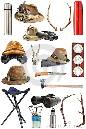 Free Collection Of Hunting And Outdoor Equipment Royalty Free Stock Photo - 30035915