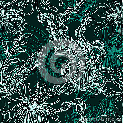 Free Collection Of Marine Plants, Leaves And Seaweed. Vintage Seamless Pattern With Hand Drawn Marine Flora. Royalty Free Stock Image - 62027276