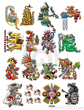 Free Collection Of Mayan Deities Isolated On White Royalty Free Stock Photo - 22152615