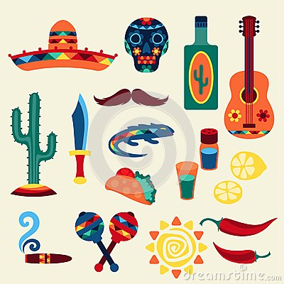 Free Collection Of Mexican Icons In Native Style Royalty Free Stock Photography - 51194487