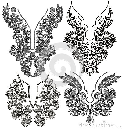 Free Collection Of Ornamental Floral Neckline Stock Image - 44988531