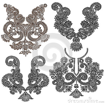Free Collection Of Ornamental Floral Neckline Royalty Free Stock Photography - 44988537