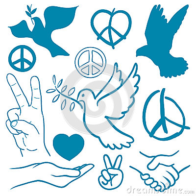 Free Collection Of Peace And Love Themed Icons Royalty Free Stock Photography - 31699377