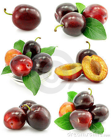 Free Collection Of Plum Fruits With Green Leafs Stock Images - 6137834