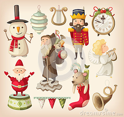 Free Collection Of Retro Christmas Toys Royalty Free Stock Photo - 49373545