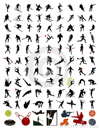 Free Collection Of Silhouettes Of Sportsmen Royalty Free Stock Image - 13522846