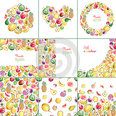 Free Collection Of Templates With Hand Drawn Bright Stylish Fruits Royalty Free Stock Photography - 78102807