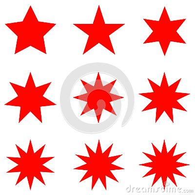 Free Collection Of Trendy Retro Stars Shapes. Sunburst Design Elements Set. Bursting Rays Clip Art. Red Sparkles. Royalty Free Stock Photo - 104112765