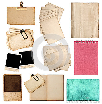 Free Collection Of Various Old Paper Sheets And Photo Frames Stock Images - 39590394