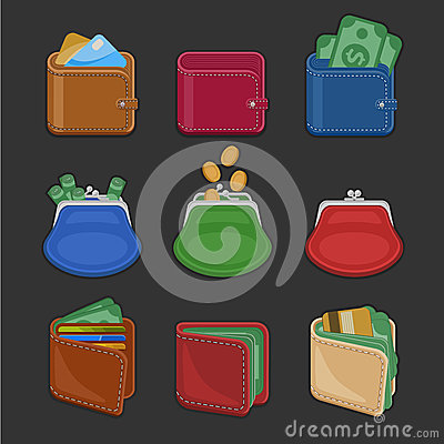 Free Collection Of Various Open And Closed Purses And Wallets With Money, Cash, Gold Coins, Credit Cards. Set Of Finance Symbols Stock Photos - 78784163