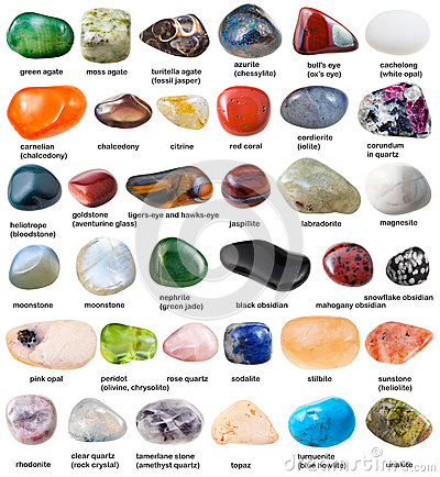 Free Collection Of Various Tumbled Gemstones With Names Royalty Free Stock Images - 77285539