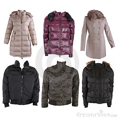 Free Collection Of Various Types Of Winter Jackets Stock Images - 17128754