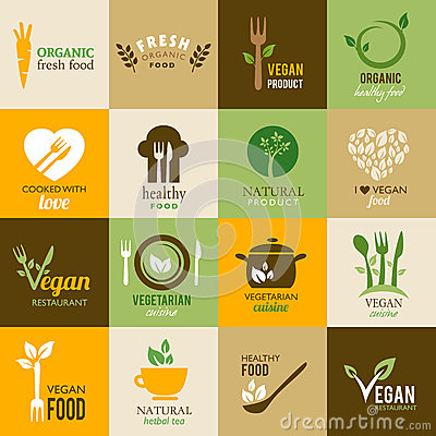 Free Collection Of Vegetarian And Organic Icons Royalty Free Stock Images - 35489449