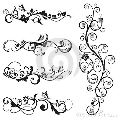 Free Collection Of Vintage Floral Silhouette Designs Stock Photos - 31351133