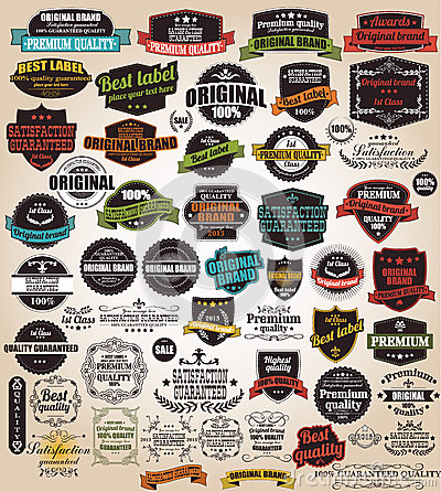 Free Collection Of Vintage Retro Labels, Badges, Stamps, Ribbons Royalty Free Stock Images - 45134689