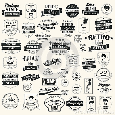 Free Collection Of Vintage Retro Labels, Badges, Stamps, Ribbons Stock Image - 45135001