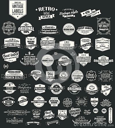Free Collection Of Vintage Retro Labels, Badges, Stamps, Ribbons Stock Photos - 45135143