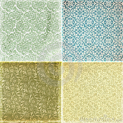 Free Collection Of Vintage Wallpaper Pattern Textures Stock Photography - 8414212
