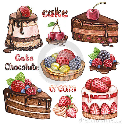 Free Collection Of Watercolor Cakes Royalty Free Stock Images - 25527789