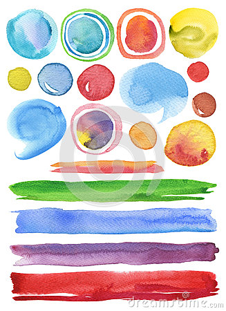 Free Collection Of Watercolor Hand Painted Design Elements Background Stock Image - 48075441