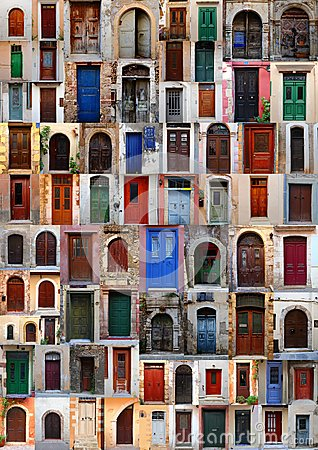 Free Collection Of Weathered Doors Stock Image - 41895951
