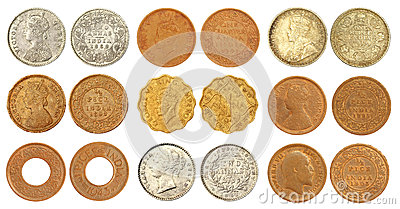 Collection of old Indian coins of British colonial
