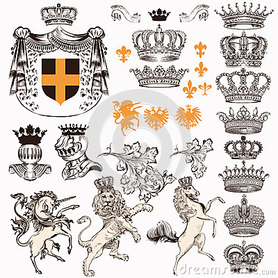 Free Collection Or Set Of Vintage Styled Heraldic Elements Horses Unicorn Lion Shields Crowns And Other Stock Photos - 64743453