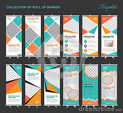 Collection of Orange and green Roll Up Banner Design polygon bac