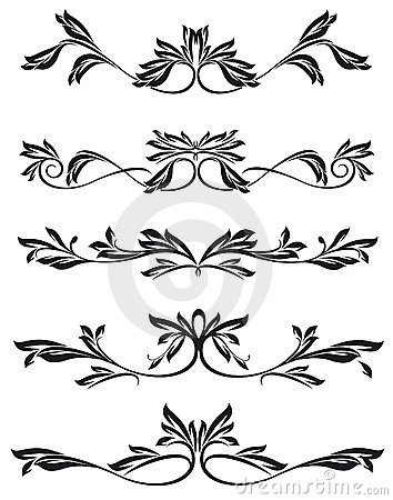 Collection of ornate graphical elements