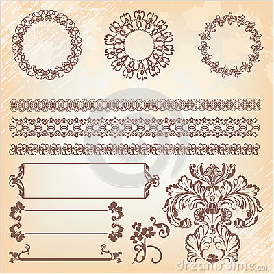 Collection of ornate page decor elements