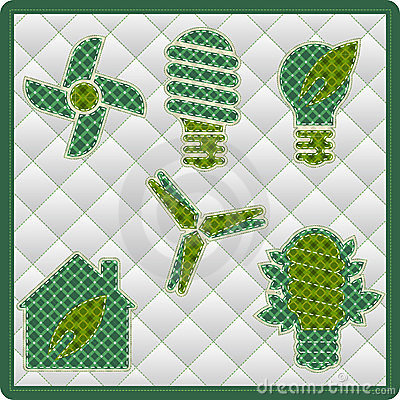 Collection patchwork concept of Eco icons