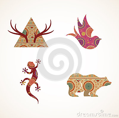 Collection of patterned Bohemian, Tribal objects Vector Illustration