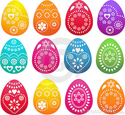 Collection of patterned colored Easter eggs