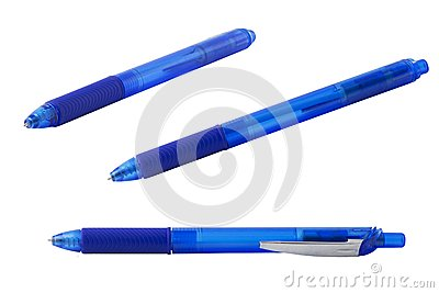 Collection of pictures of blue ballpoint pen