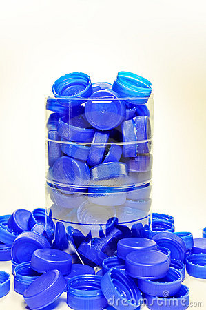 Collection of plastic caps